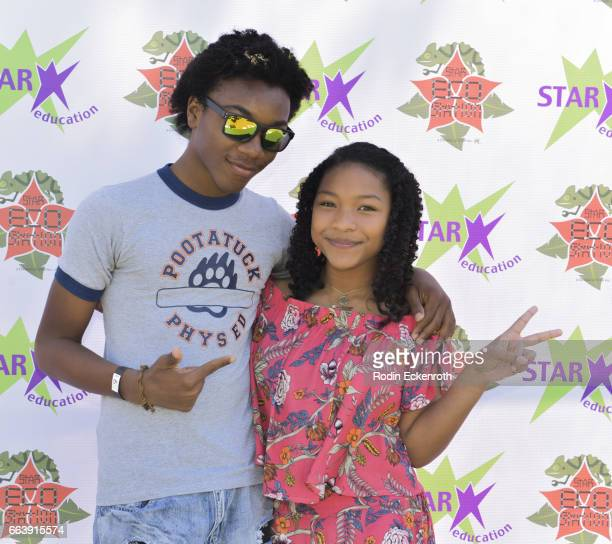 Actor Jaheem Toombs and Laya Deleon Hayes attend 17th Annual Children's Earth Day Extravaganza at Star Eco Station on April 2 2017 in Culver City...
