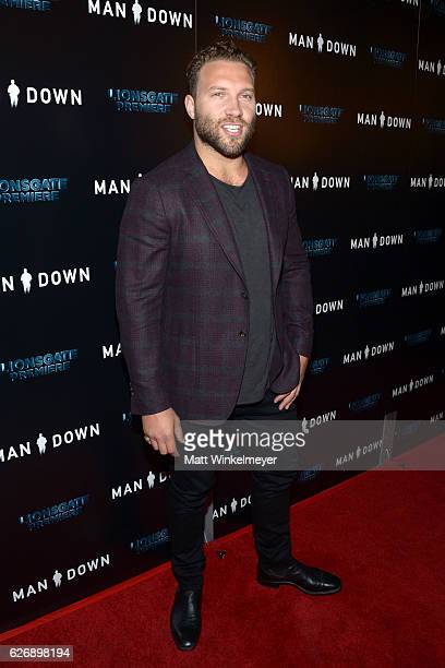 Actor Jai Courtney attends the premiere of Lionsgate Premiere's 'Man Down' at ArcLight Hollywood on November 30 2016 in Hollywood California