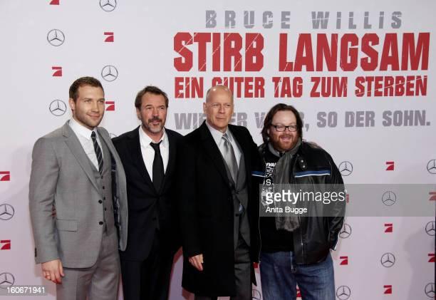 Actor Jai Courtney German actor Sebastian Koch actor Bruce willis and director John Moore attend the 'Die Hard Ein Guter Tag Zum Sterben' Germany...