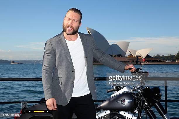 Actor Jai Courtney poses during a 'Terminator Genisys' photo call at the Park Hyatt Sydney on June 4 2015 in Sydney Australia
