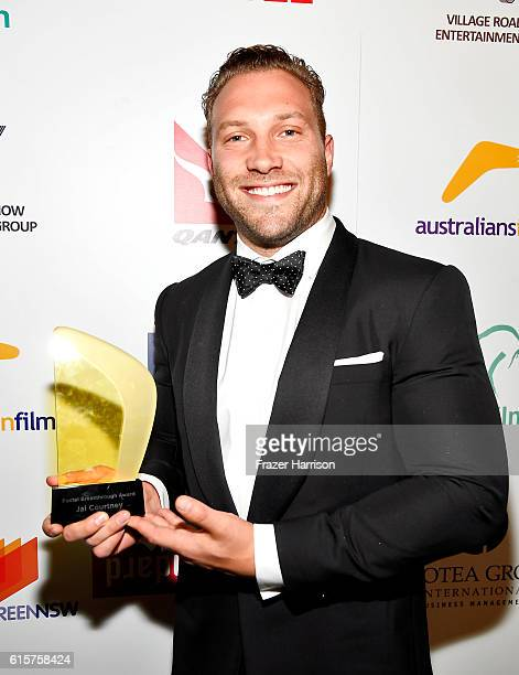 Actor Jai Courtney poses with his FOXTEL Breakthrough Award backstage during Australians In Film's 5th Annual Awards Gala at NeueHouse Hollywood on...