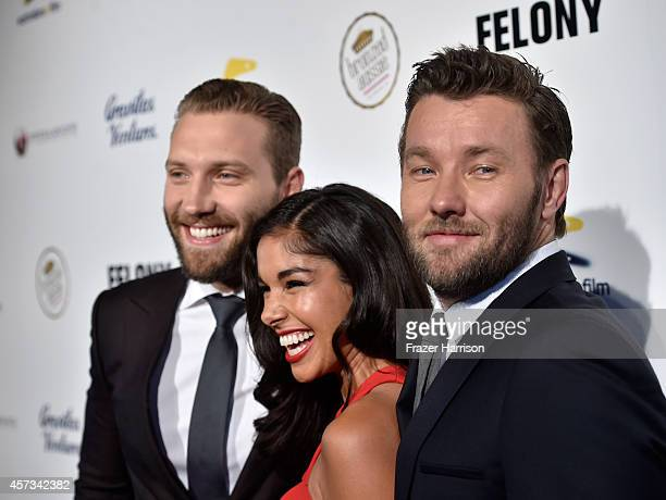 Actor Jai Courtney Sarah Roberts and Joel Edgerton attend Australians in Film present the Premiere Of 'Felony' at Harmony Gold Theatre on October 16...