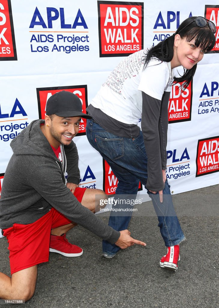 Actor <a gi-track='captionPersonalityLinkClicked' href=/galleries/search?phrase=Jai+Rodriguez+-+Actor&family=editorial&specificpeople=202956 ng-click='$event.stopPropagation()'>Jai Rodriguez</a> (L) and actress <a gi-track='captionPersonalityLinkClicked' href=/galleries/search?phrase=Pauley+Perrette&family=editorial&specificpeople=625846 ng-click='$event.stopPropagation()'>Pauley Perrette</a> attend the 29th Annual AIDS Walk LA on October 13, 2013 in West Hollywood, California.