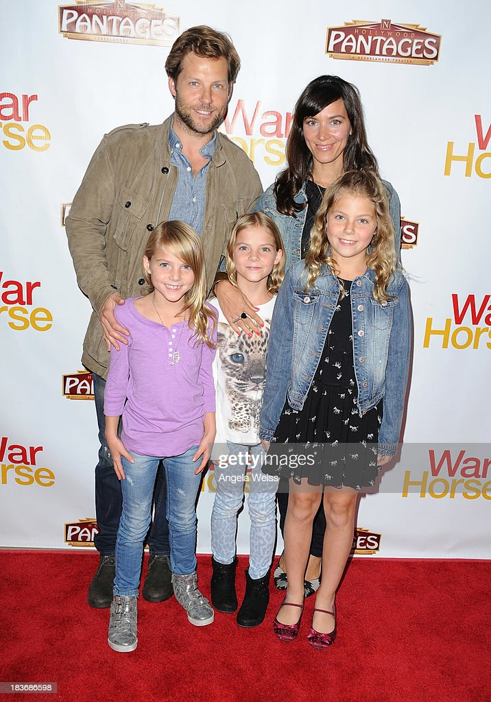 Actor Jaime Bamber and family arrrive at the opening night for 'War Horse' at the Pantages Theatre on October 8, 2013 in Hollywood, California.