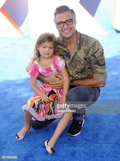 Actor Jaime Camil and daughter Elena Camil arrive at the premiere of Warner Bros Pictures' 'Storks' at Regency Village Theatre on September 17 2016...