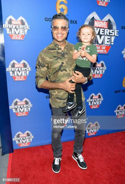 Actor Jaime Camil and son Jaime Camil III attend the world premiere of Marvel Universe Live Age Of Heroes at Staples Center on July 8 2017 in Los...