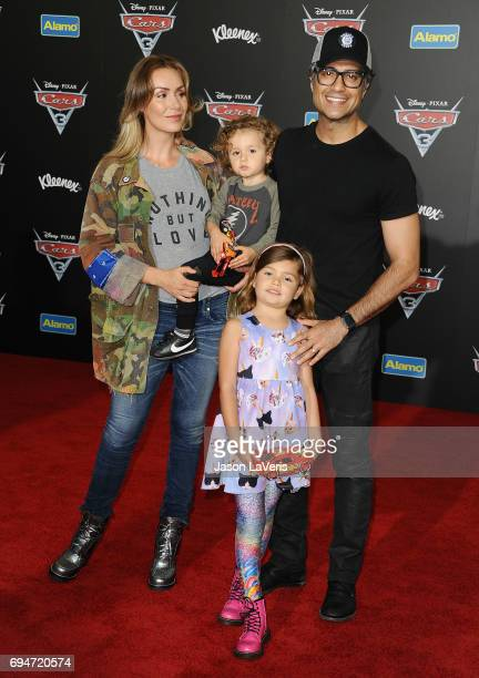 Actor Jaime Camil wife Heidi Balvanera and children Jaime Camil and Elena Camil attend the premiere of 'Cars 3' at Anaheim Convention Center on June...