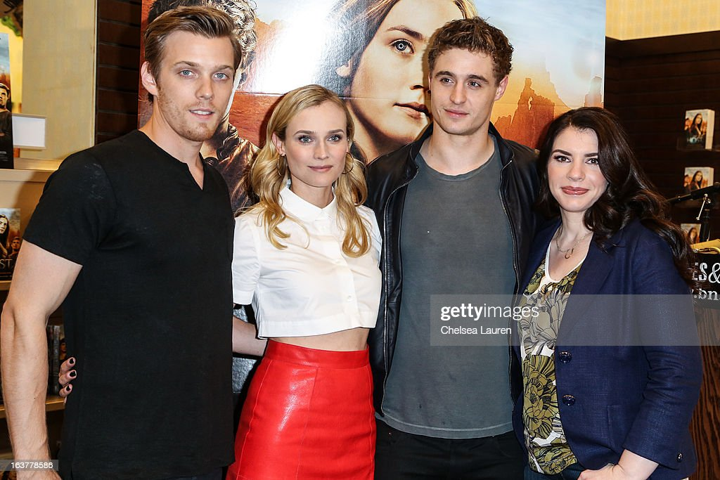 Actor <a gi-track='captionPersonalityLinkClicked' href=/galleries/search?phrase=Jake+Abel&family=editorial&specificpeople=4684398 ng-click='$event.stopPropagation()'>Jake Abel</a>, actress <a gi-track='captionPersonalityLinkClicked' href=/galleries/search?phrase=Diane+Kruger&family=editorial&specificpeople=202640 ng-click='$event.stopPropagation()'>Diane Kruger</a>, actor <a gi-track='captionPersonalityLinkClicked' href=/galleries/search?phrase=Max+Irons&family=editorial&specificpeople=762929 ng-click='$event.stopPropagation()'>Max Irons</a> and author <a gi-track='captionPersonalityLinkClicked' href=/galleries/search?phrase=Stephenie+Meyer&family=editorial&specificpeople=5476076 ng-click='$event.stopPropagation()'>Stephenie Meyer</a> arrive at the celebration of the film release of 'The Host' at Barnes & Noble bookstore at The Grove on March 15, 2013 in Los Angeles, California.