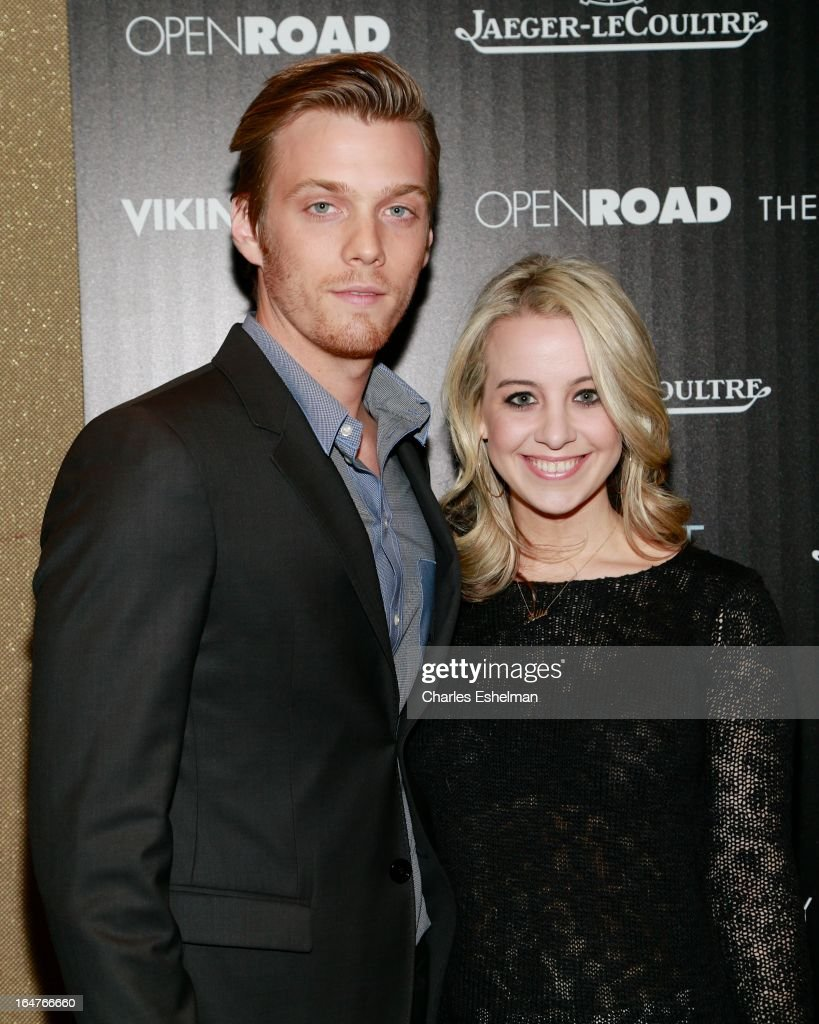 Actor <a gi-track='captionPersonalityLinkClicked' href=/galleries/search?phrase=Jake+Abel&family=editorial&specificpeople=4684398 ng-click='$event.stopPropagation()'>Jake Abel</a> and Allie Woods attend The Cinema Society & Jaeger-LeCoultre Host A Screening Of Open Road Films' 'The Host' at the Tribeca Grand Hotel - Screening Room on March 27, 2013 in New York City.