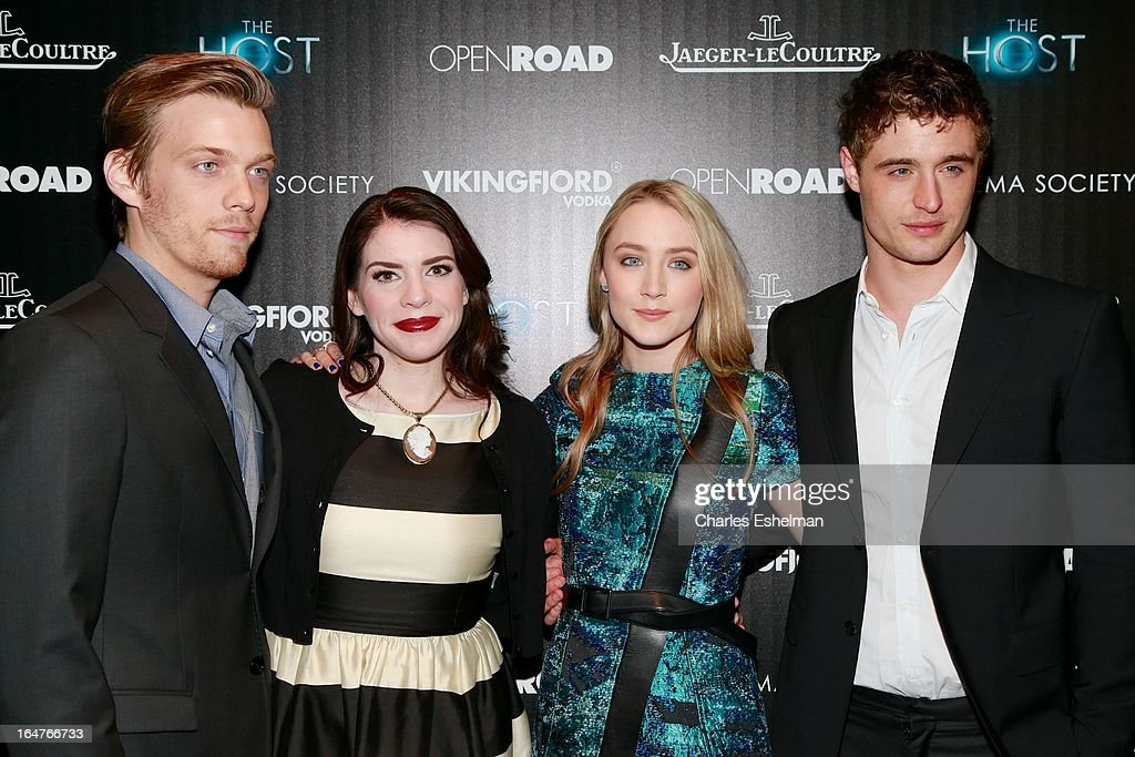 Actor Jake Abel, author Stephenie Meyer, actors Saoirse Ronan and Max Irons attend The Cinema Society & Jaeger-LeCoultre Host A Screening Of Open Road Films' 'The Host' at the Tribeca Grand Hotel - Screening Room on March 27, 2013 in New York City.
