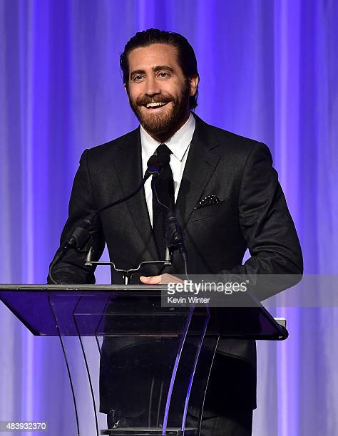 Actor Jake Gyllenhaal accepts grant on behalf of The Film Foundation onstage during HFPA Annual Grants Banquet at the Beverly Wilshire Four Seasons...