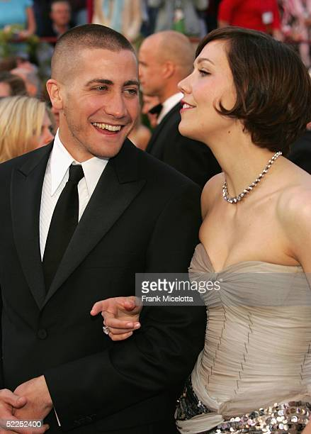 Actor Jake Gyllenhaal and Actress Maggie Gyllenhaal arrive at the 77th Annual Academy Awards at the Kodak Theater on February 27 2005 in Hollywood...