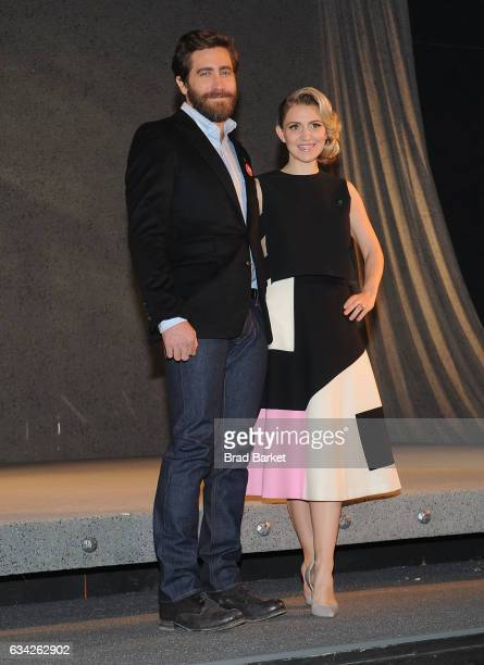 Actor Jake Gyllenhaal and Annaleigh Ashford attend 'Sunday In The Park With George' meet the press at Hudson Theatre on February 8 2017 in New York...