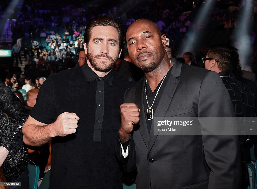 Actor Jake Gyllenhaal and director Antoine Fuqua pose ringside at 'Mayweather VS Pacquiao' presented by SHOWTIME PPV And HBO PPV at MGM Grand Garden...