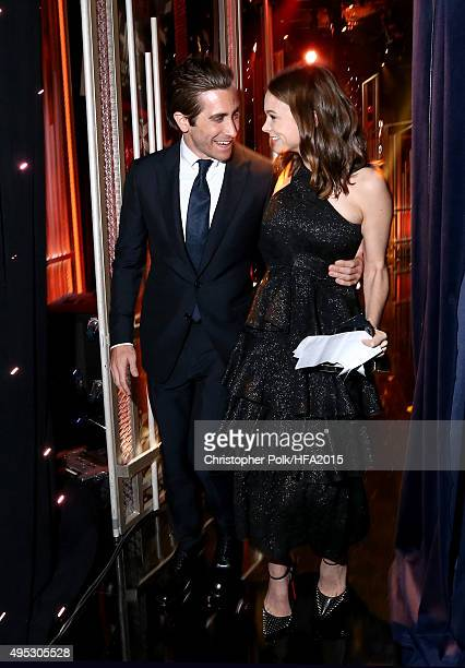 Actor Jake Gyllenhaal and Hollywood Actress Award honoree Carey Mulligan onstage at the 19th Annual Hollywood Film Awards at The Beverly Hilton Hotel...
