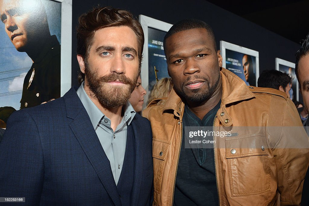 Actor <a gi-track='captionPersonalityLinkClicked' href=/galleries/search?phrase=Jake+Gyllenhaal&family=editorial&specificpeople=201833 ng-click='$event.stopPropagation()'>Jake Gyllenhaal</a> and rapper <a gi-track='captionPersonalityLinkClicked' href=/galleries/search?phrase=50+Cent+-+Rapper&family=editorial&specificpeople=215363 ng-click='$event.stopPropagation()'>50 Cent</a> arrive at the 'End Of Watch' Los Angeles Premiere at Regal Cinemas L.A. Live on September 17, 2012 in Los Angeles, California.
