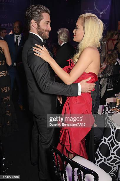 Actor Jake Gyllenhaal and singer Rita Ora attend amfAR's 22nd Cinema Against AIDS Gala Presented By Bold Films And Harry Winston at Hotel du...
