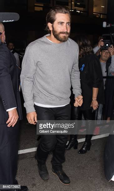 Actor Jake Gyllenhaal arrives at Calvin Klein Collection fashion show during New York Fashion Week on September 7 2017 in New York City