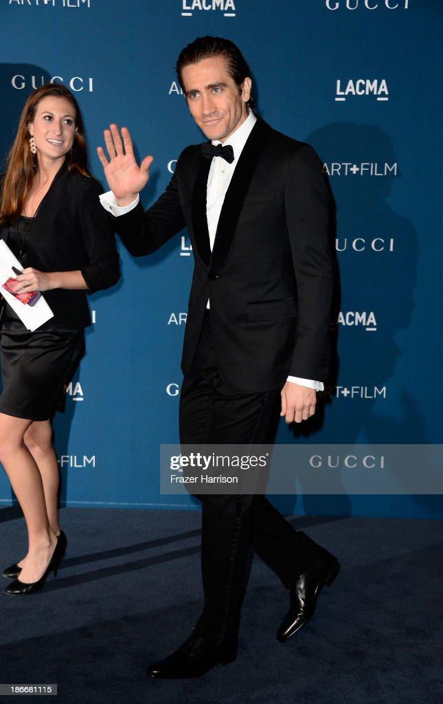 Actor <a gi-track='captionPersonalityLinkClicked' href=/galleries/search?phrase=Jake+Gyllenhaal&family=editorial&specificpeople=201833 ng-click='$event.stopPropagation()'>Jake Gyllenhaal</a> arrives at the LACMA 2013 Art + Film Gala on November 2, 2013 in Los Angeles, California.