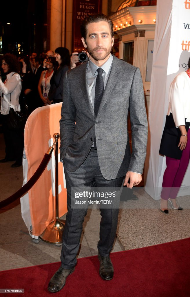 Actor <a gi-track='captionPersonalityLinkClicked' href=/galleries/search?phrase=Jake+Gyllenhaal&family=editorial&specificpeople=201833 ng-click='$event.stopPropagation()'>Jake Gyllenhaal</a> arrives at the 'Prisoners' Premiere during the 2013 Toronto International Film Festival held at The Elgin on September 6, 2013 in Toronto, Canada.