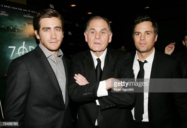 Actor Jake Gyllenhaal author Robert Graysmith and actor Mark Ruffalo attend a special screening of 'Zodiac' hosted by The Cinema Society and GQ...
