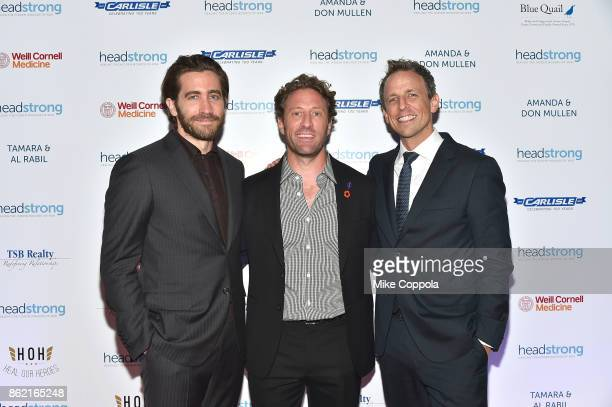Actor Jake Gyllenhaal Event cochair Marine veteran Founder of Headstrong Zach Iscol and Host of 'Late Night with Seth Meyers' Seth Meyers attend the...