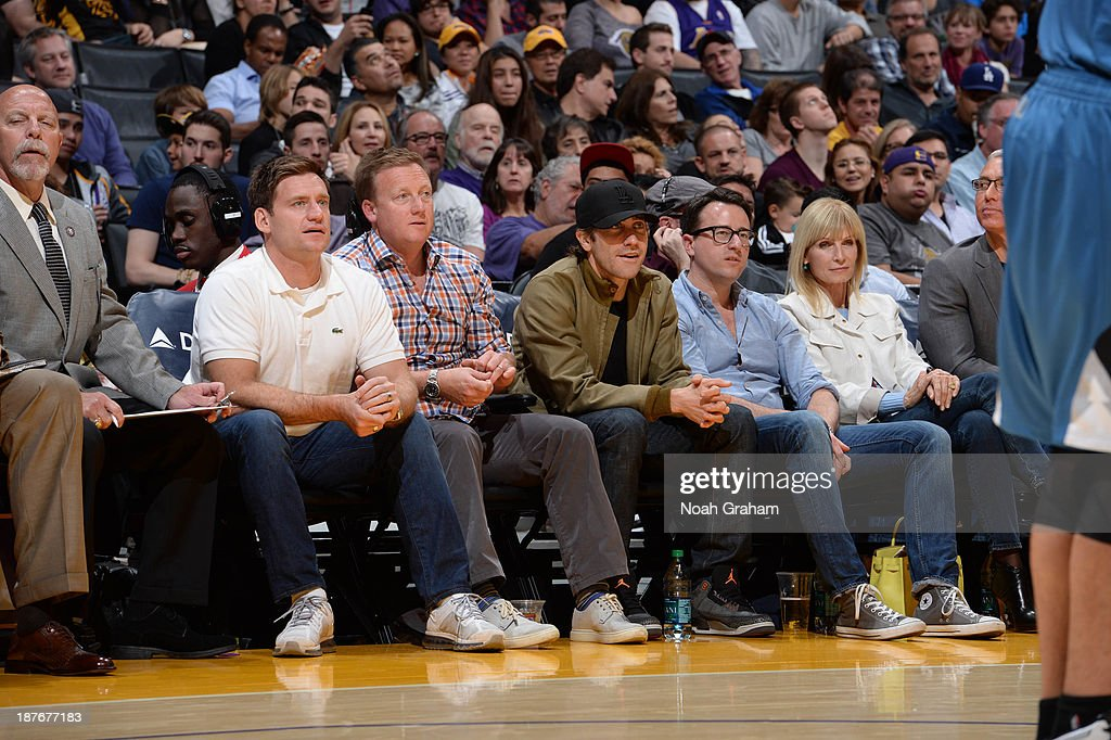 Actor <a gi-track='captionPersonalityLinkClicked' href=/galleries/search?phrase=Jake+Gyllenhaal&family=editorial&specificpeople=201833 ng-click='$event.stopPropagation()'>Jake Gyllenhaal</a> (C) looks on during a game between the Minnesota Timberwolves and the Los Angeles Lakers at Staples Center on November 10, 2013 in Los Angeles, California.