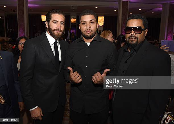 Actor Jake Gyllenhaal rappers O'Shea Jackson Jr and Ice Cube attend HFPA Annual Grants Banquet at the Beverly Wilshire Four Seasons Hotel on August...