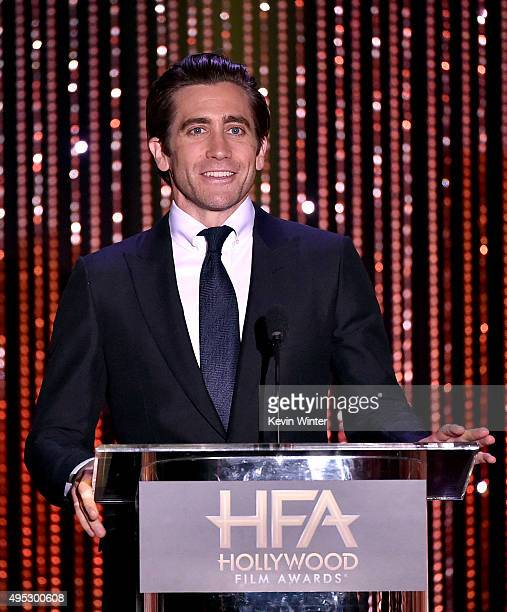 Actor Jake Gyllenhaal speaks onstage during the 19th Annual Hollywood Film Awards at The Beverly Hilton Hotel on November 1 2015 in Beverly Hills...