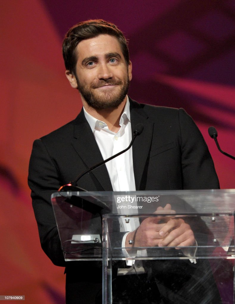 Actor <a gi-track='captionPersonalityLinkClicked' href=/galleries/search?phrase=Jake+Gyllenhaal&family=editorial&specificpeople=201833 ng-click='$event.stopPropagation()'>Jake Gyllenhaal</a> speaks onstage during the 22nd Annual Palm Springs International Film Festival Awards Gala at the Palm Springs Convention Center on January 8, 2011 in Palm Springs, California.