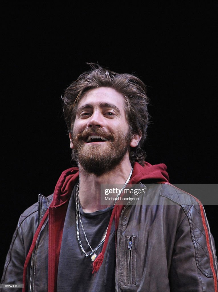 Actor <a gi-track='captionPersonalityLinkClicked' href=/galleries/search?phrase=Jake+Gyllenhaal&family=editorial&specificpeople=201833 ng-click='$event.stopPropagation()'>Jake Gyllenhaal</a> takes part in a curtain call following his performance in the 'If There Is I Haven't Found It' Broadway opening night at Laura Pels Theatre on September 20, 2012 in New York City.