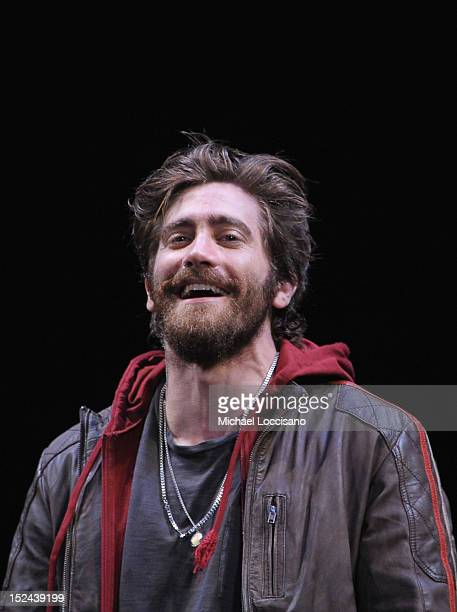 Actor Jake Gyllenhaal takes part in a curtain call following his performance in the 'If There Is I Haven't Found It' Broadway opening night at Laura...