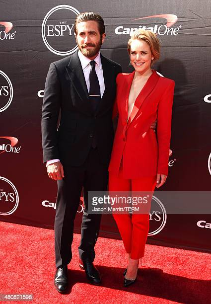 Actor Jake Gyllenhaal with Actress Rachel McAdams attends The 2015 ESPYS at Microsoft Theater on July 15 2015 in Los Angeles California