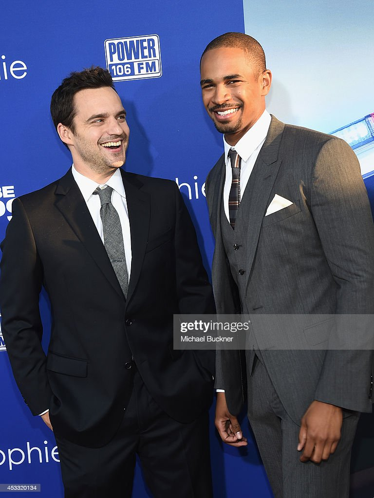 Actor Jake Johnson (L) and actor <a gi-track='captionPersonalityLinkClicked' href=/galleries/search?phrase=Damon+Wayans+Jr.&family=editorial&specificpeople=748156 ng-click='$event.stopPropagation()'>Damon Wayans Jr.</a> arrive at the premiere of Twentieth Century Fox's 'Let's Be Cops' at ArcLight Hollywood on August 7, 2014 in Hollywood, California.