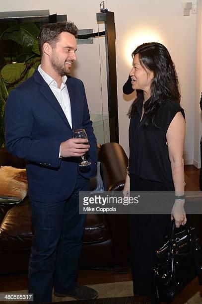 Actor Jake Johnson and Global VP Marketing Stella Artois ABInBev Debora Koyama attend the Stella Artois PerfectDraft Home Bar celebration event on...