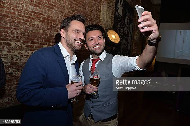 Actor Jake Johnson and World Draught Master Allaine Schaiko attend the Stella Artois PerfectDraft Home Bar celebration event on March 25 2014 in New...