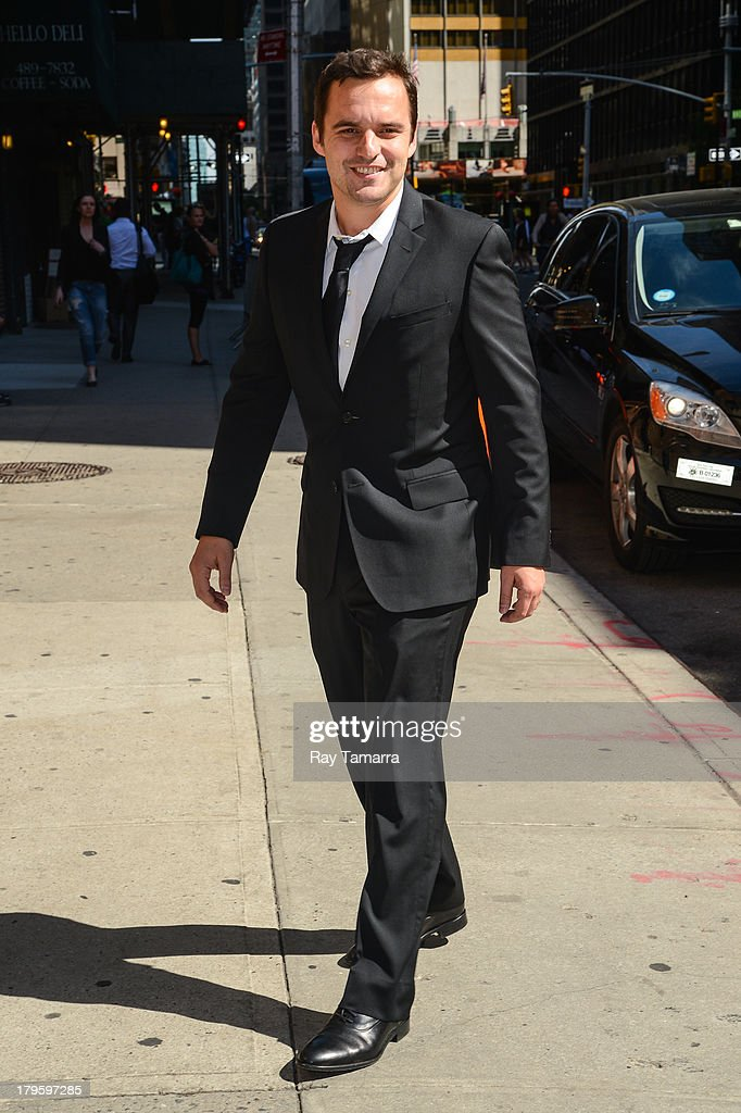 Actor Jake Johnson enters the 'Late Show With David Letterman' taping at the Ed Sullivan Theater on September 5, 2013 in New York City.