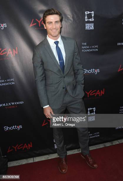"Actor Jake Lockett arrives for the Premiere Of Parade Deck's ""Lycan"" held at Laemmle's Ahrya Fine Arts Theatre on August 15 2017 in Beverly Hills..."