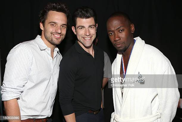 Actor Jake M Johnson Max Greenfield and Lamorne Morris attend the 2012 Do Something Awards at Barker Hangar on August 19 2012 in Santa Monica...
