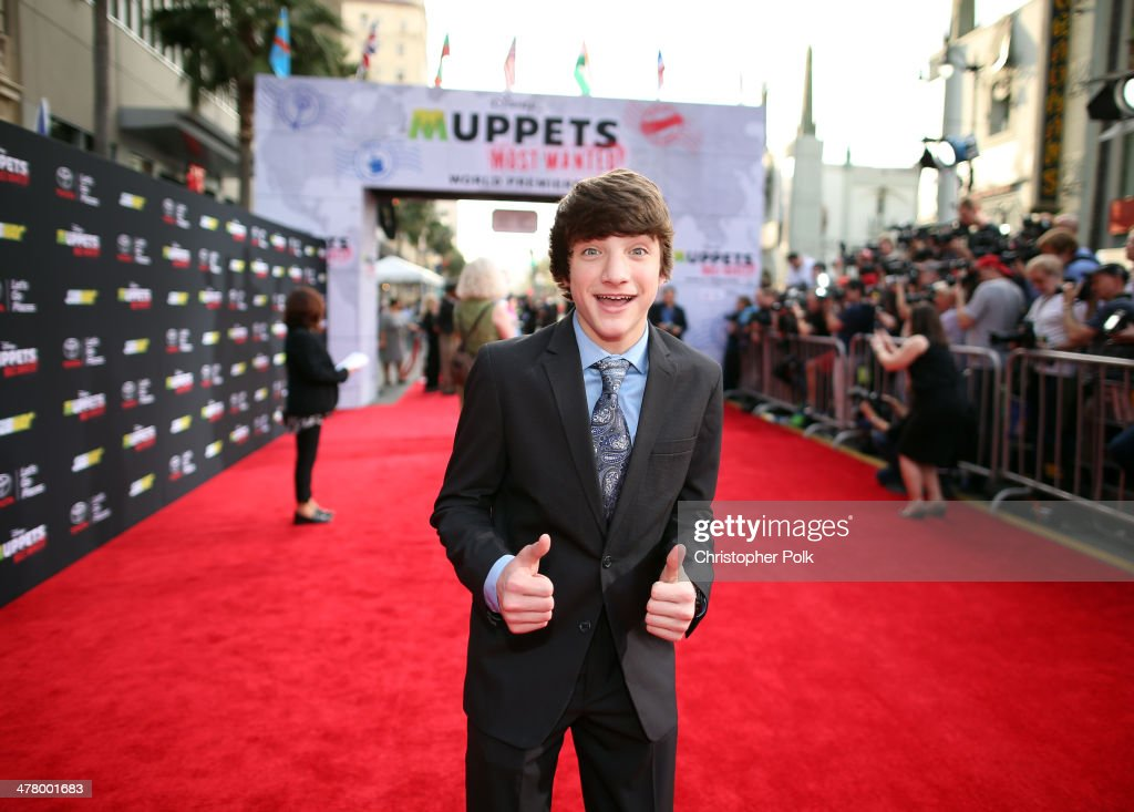 Actor Jake Short arrives at the world premiere of Disney's 'Muppets Most Wanted' at the El Capitan Theatre on March 11, 2014 in Hollywood, California.