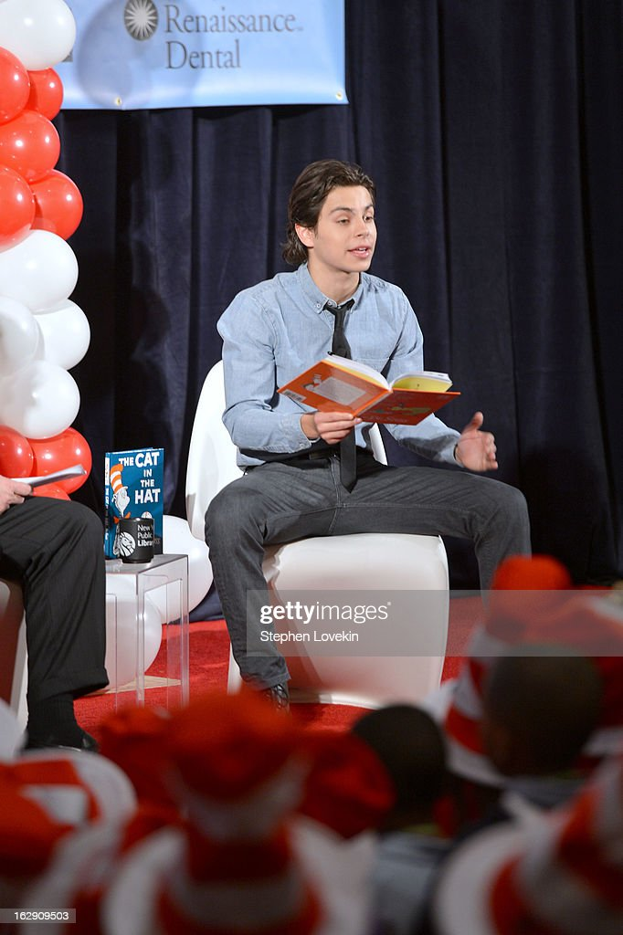 Actor Jake T. Austin reads onstage at NEA's Read Across America Day at New York Public Library on March 1, 2013 in New York City.