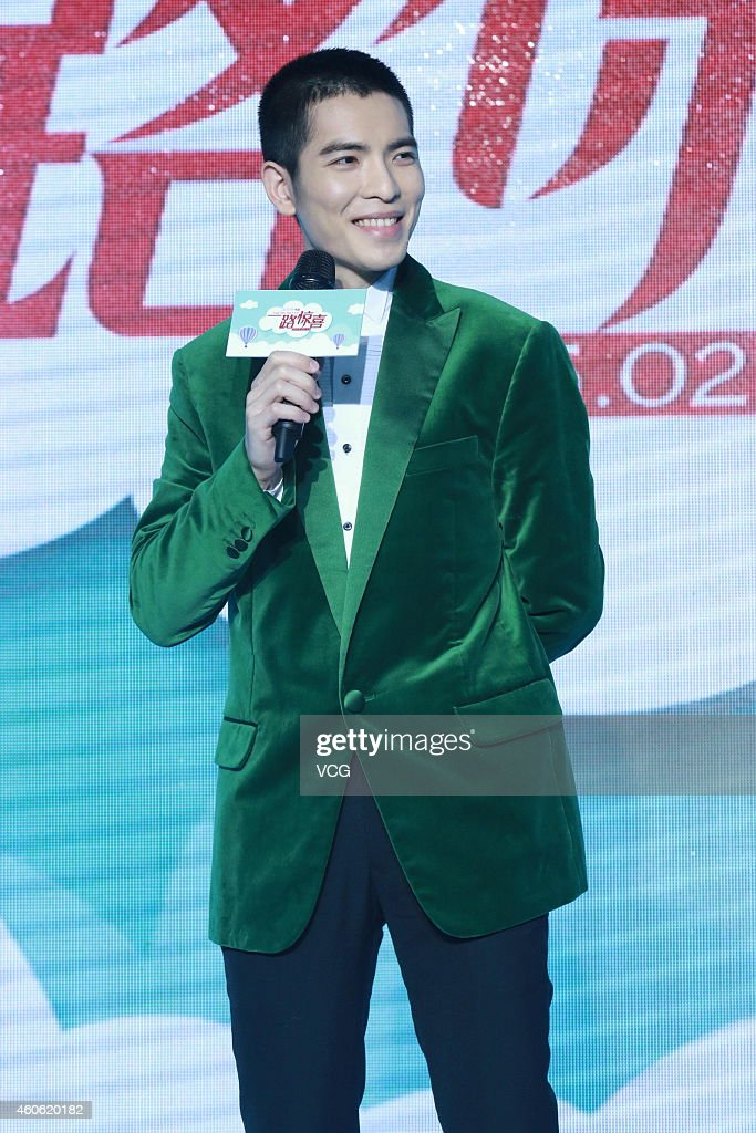 Actor Jam Hsiao attends director Eva Jin's new movie 'Crazy New Year's Eve' press conference on December 18 2014 in Beijing China