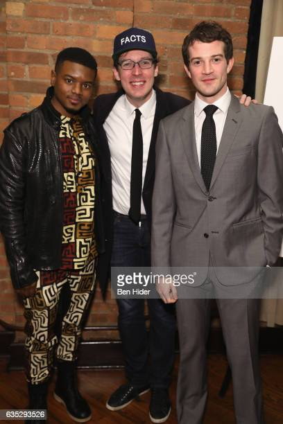 Actor Jamal MalloryMcCree actor Olli Haaskivi and AJ Shively attend the Special Screening Of FilmRise's 'From Nowhere' at Tribeca Screening Room on...