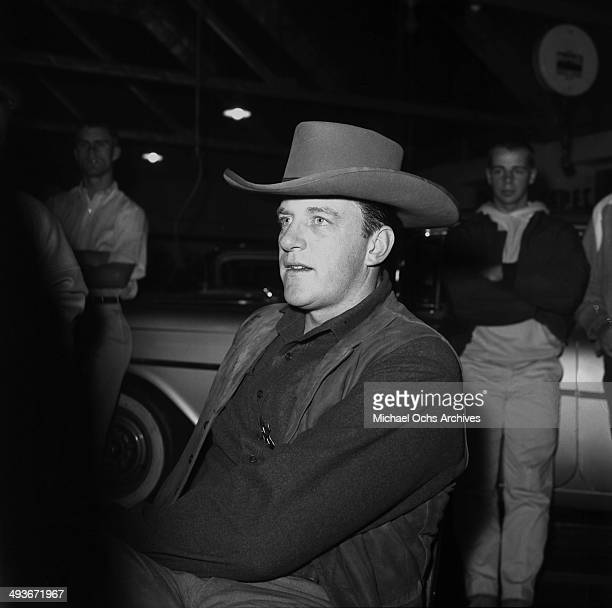 Actor James Arness waits on the set of 'Gunsmoke' in Los Angeles California
