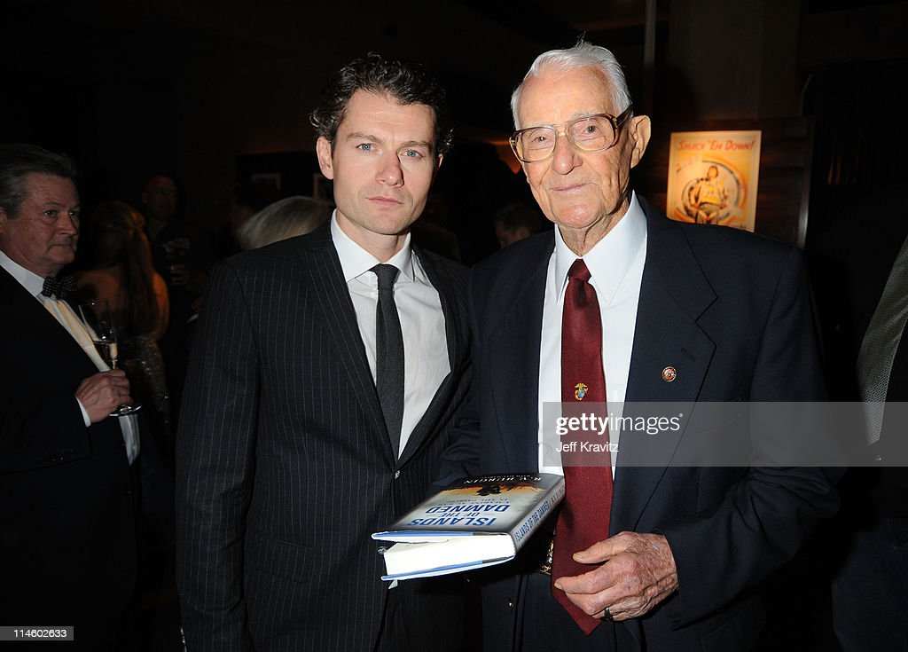 Actor James Badge Dale and veteran RV Burgin attend HBO's premiere of 'The Pacific' after party held at The Roosevelt Hotel on February 24 2010 in...