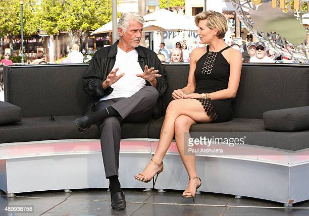 Actor James Brolin and TV Host Charissa Thompson visit 'Extra' at Universal Studios Hollywood on September 24 2015 in Universal City California