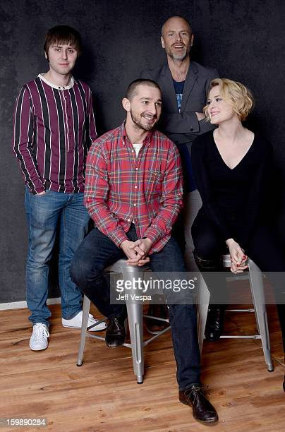 Actor James Buckley director Fredrik Bond actors Shia LaBeouf and Evan Rachel Wood pose for a portrait during the 2013 Sundance Film Festival at the...