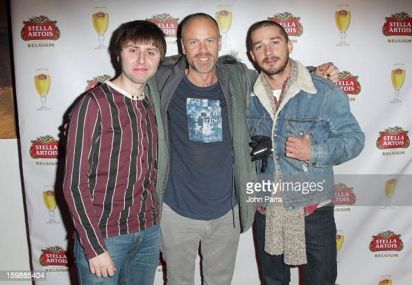 Actor James Buckley director Fredrik Bond and actor Shia LaBeouf attend the Stella Artois hosted Press Junket for The Necessary Death of Charlie...