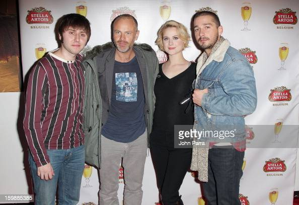 Actor James Buckley director Fredrik Bond and actors Evan Rachel Wood and Shia LaBeouf attend the Stella Artois hosted Press Junket for The Necessary...