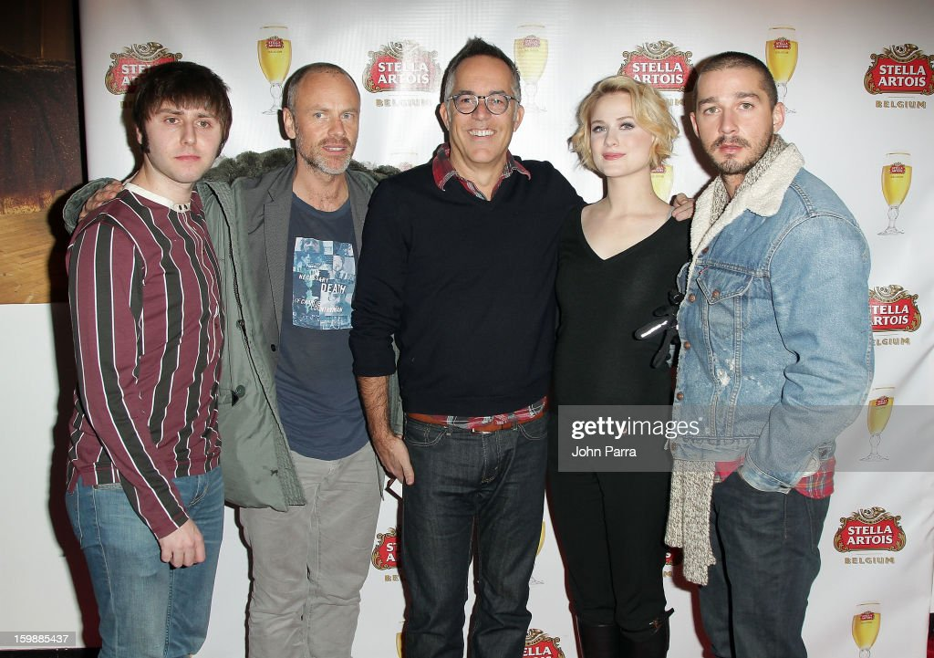 Actor James Buckley, director Fredrik Bond, Director of the Sundance Film Festival John Cooper and actors Evan Rachel Wood and Shia LaBeouf attend the Stella Artois hosted Press Junket for The Necessary Death of Charlie Countryman on January 22, 2013 in Park City, Utah.